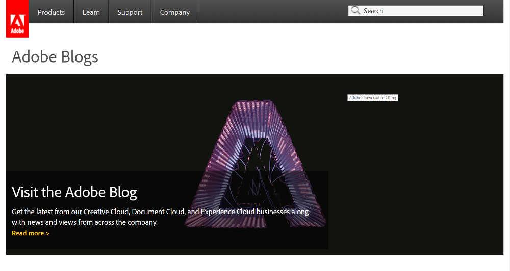 Adobe Blogs WordPress Website