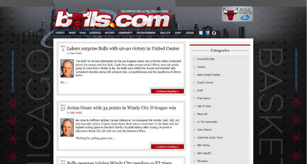 Chicago Bulls WordPress Website