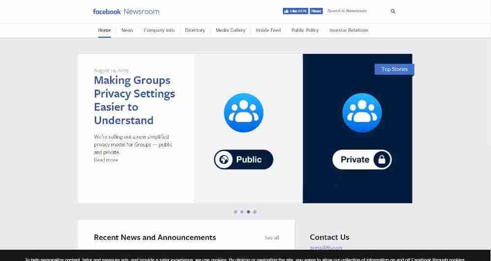 Facebook Newsroom WordPress Website