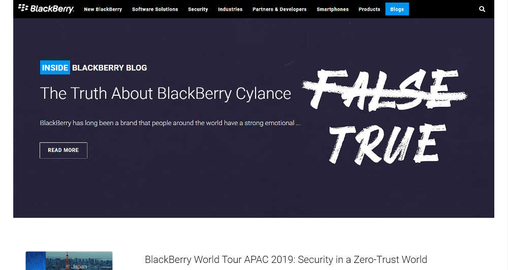 Inside BlackBerry WordPress Website