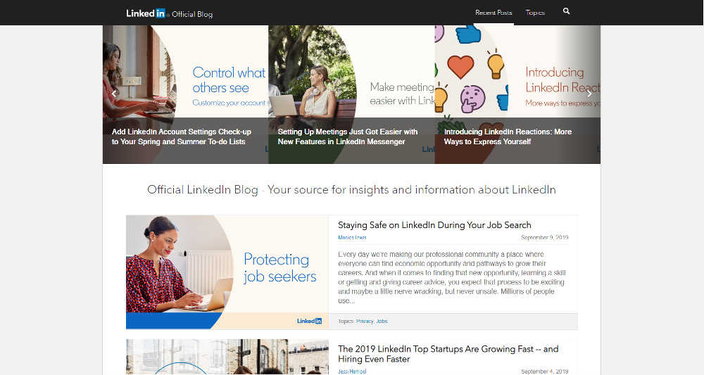 LinkedIn Official Blog WordPress Website