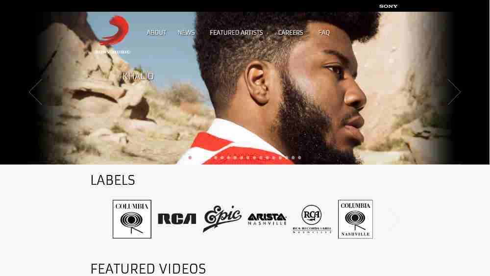 Sony Music WordPress Website