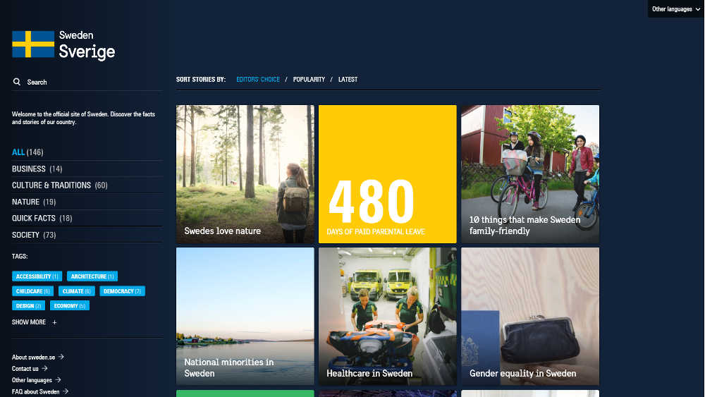 Sweden Official WordPress Website