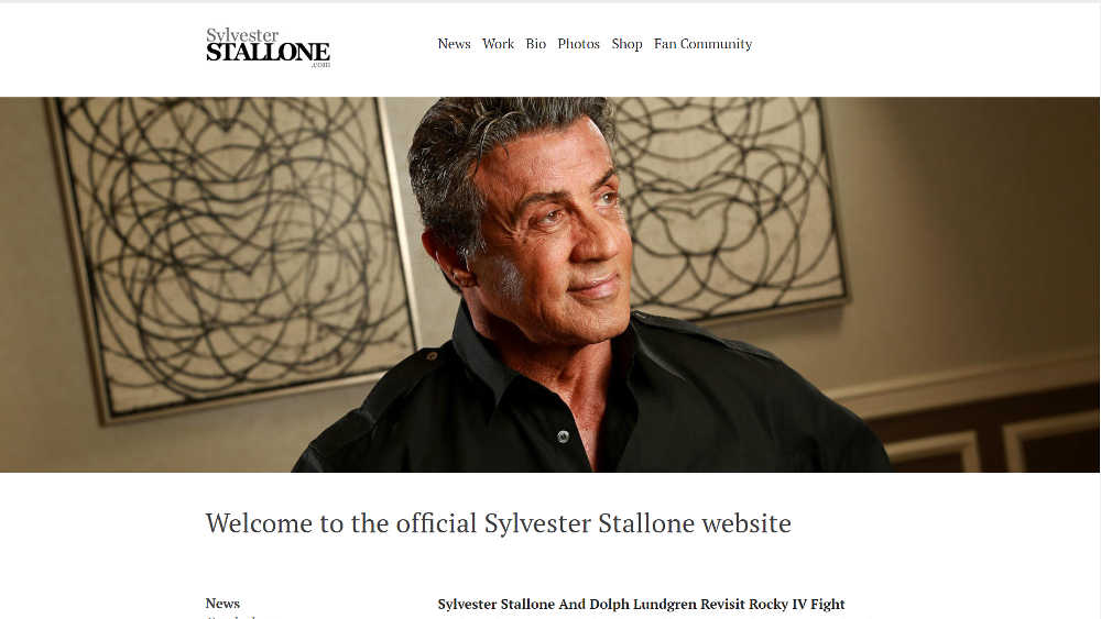 Slyvester Stallone WordPress Website