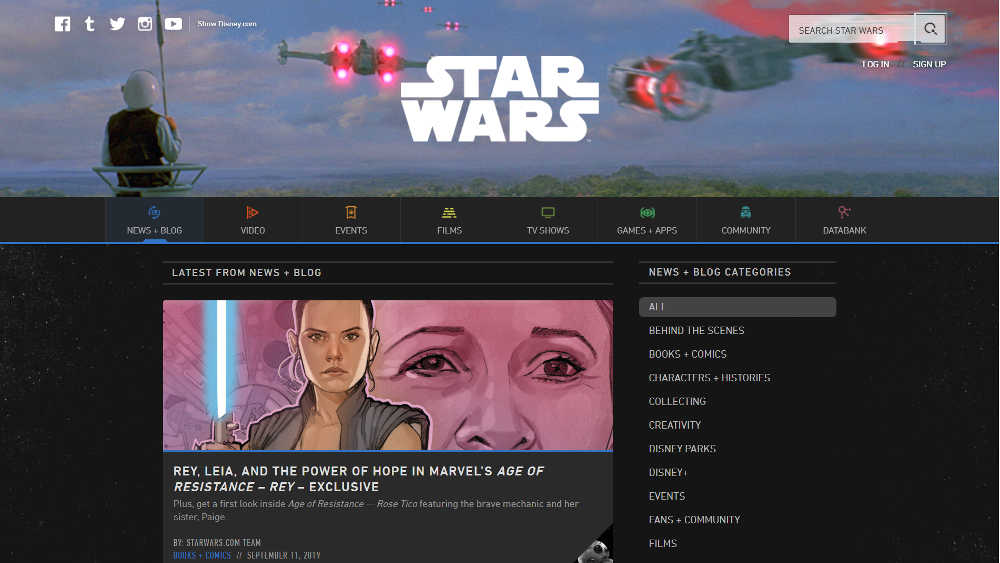 The Official Star Wars Blog WordPress Website