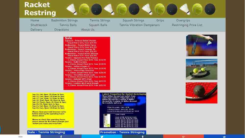 Tennis Shops Singapore - Racket Restring