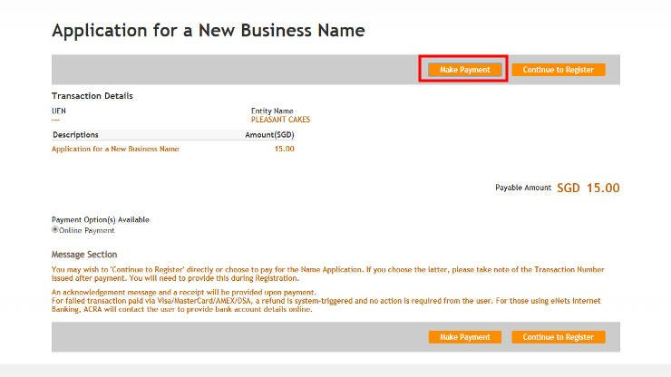 Application of Business Name in Singapore - Step 13