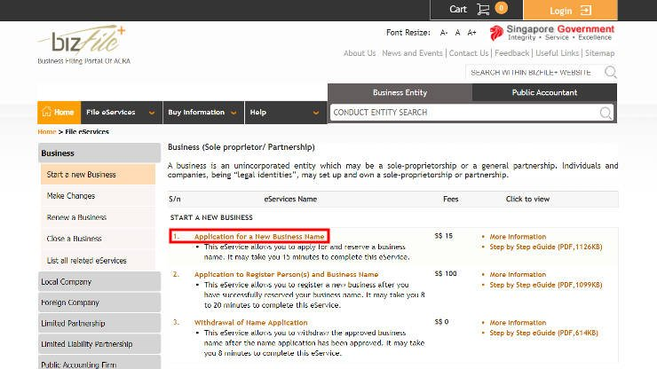 Application of Business Name in Singapore - Step 2