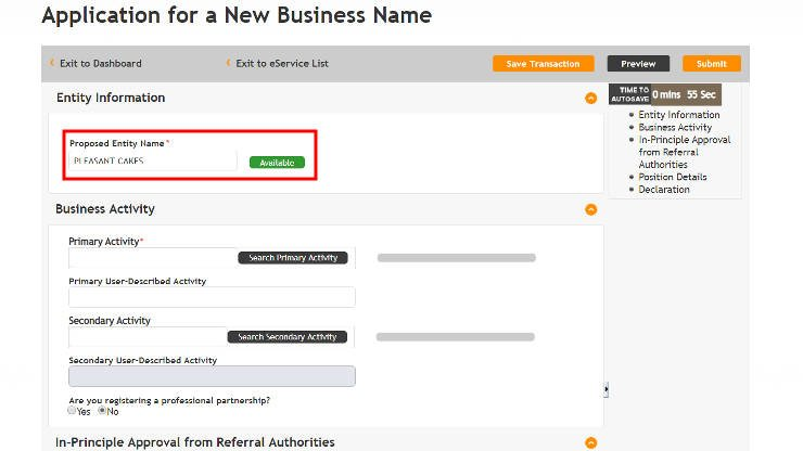 Application of Business Name in Singapore - Step 4