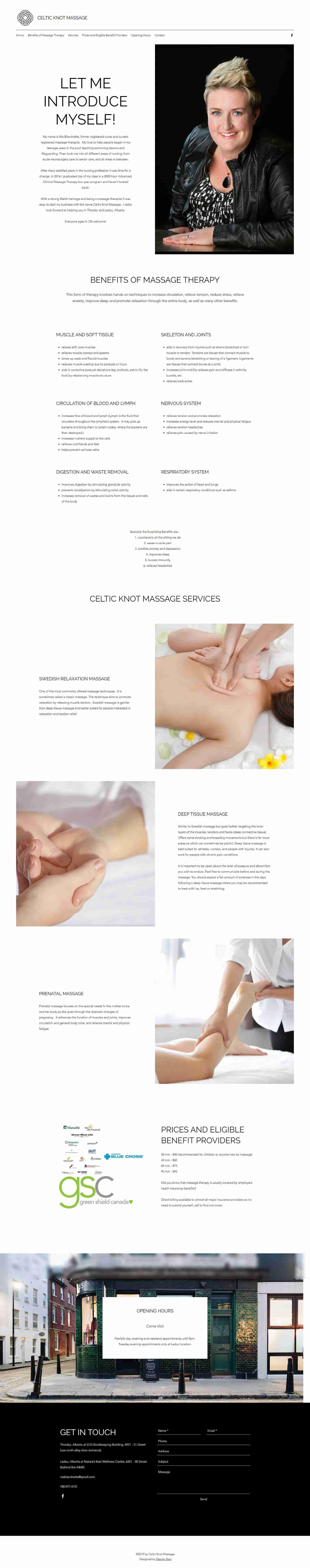 One Page Web Design Celtic Knot Massage