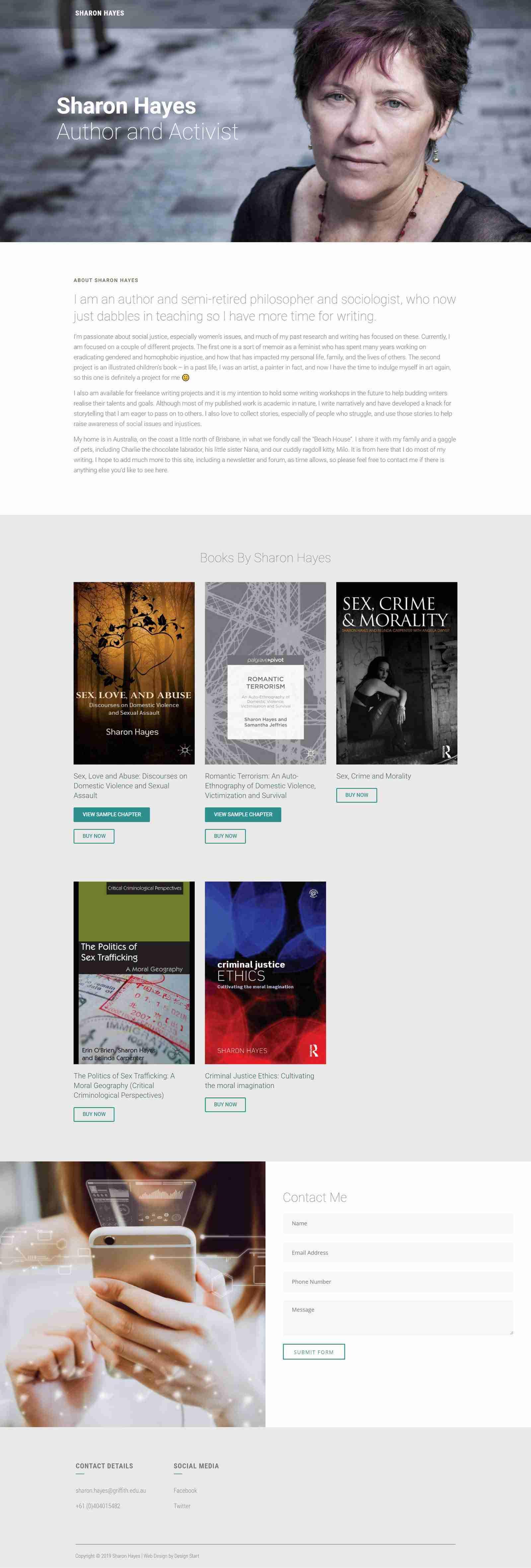 One Page Writing Services Website Development Portfolio Sharon Hayes