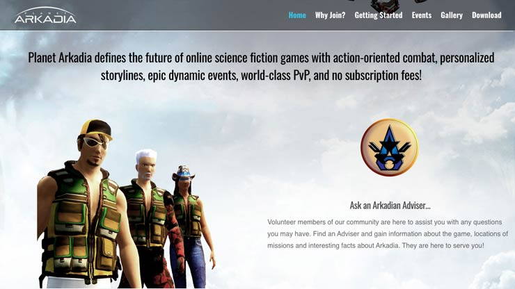 Gaming Company Website Singapore: Planet Arkadia