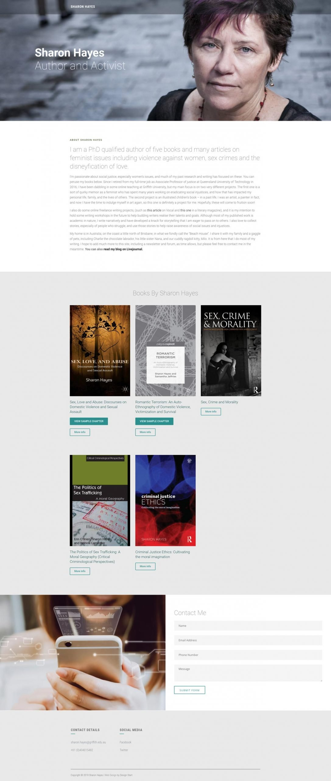 One Page Web Design: Sharon Hayes
