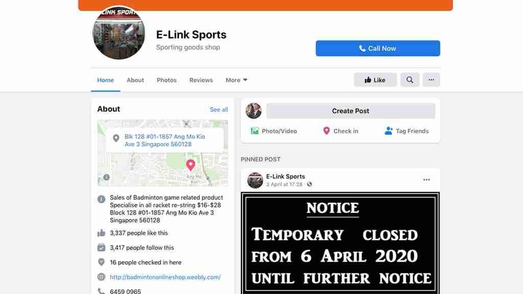Badminton Stores Singapore: E-Link Sports