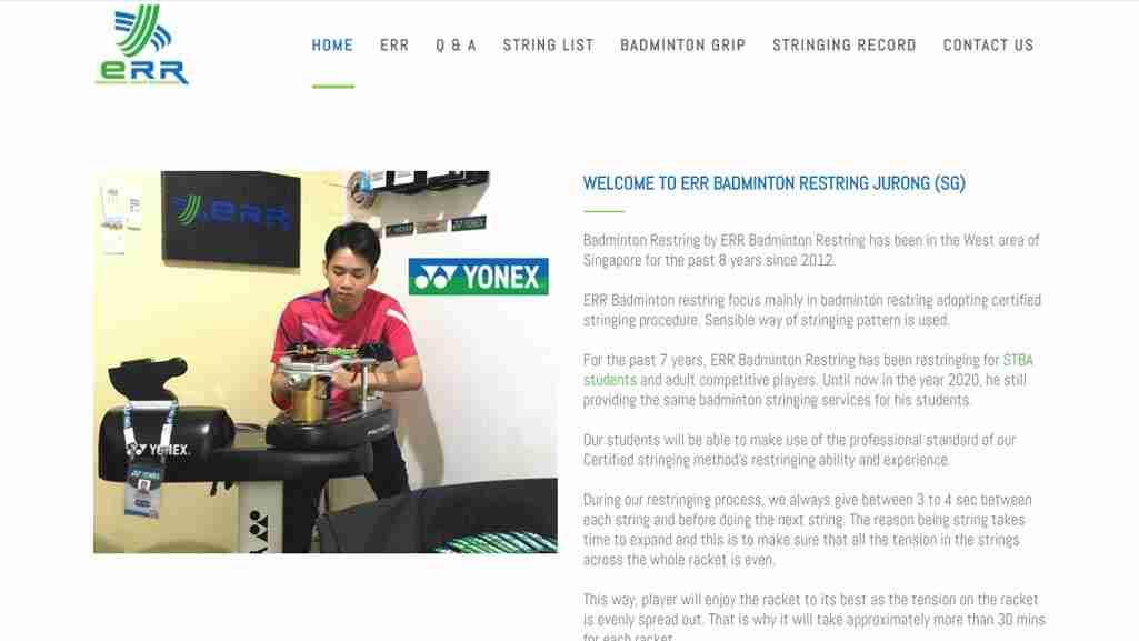 Badminton Stores Singapore: ERR Racket Restring