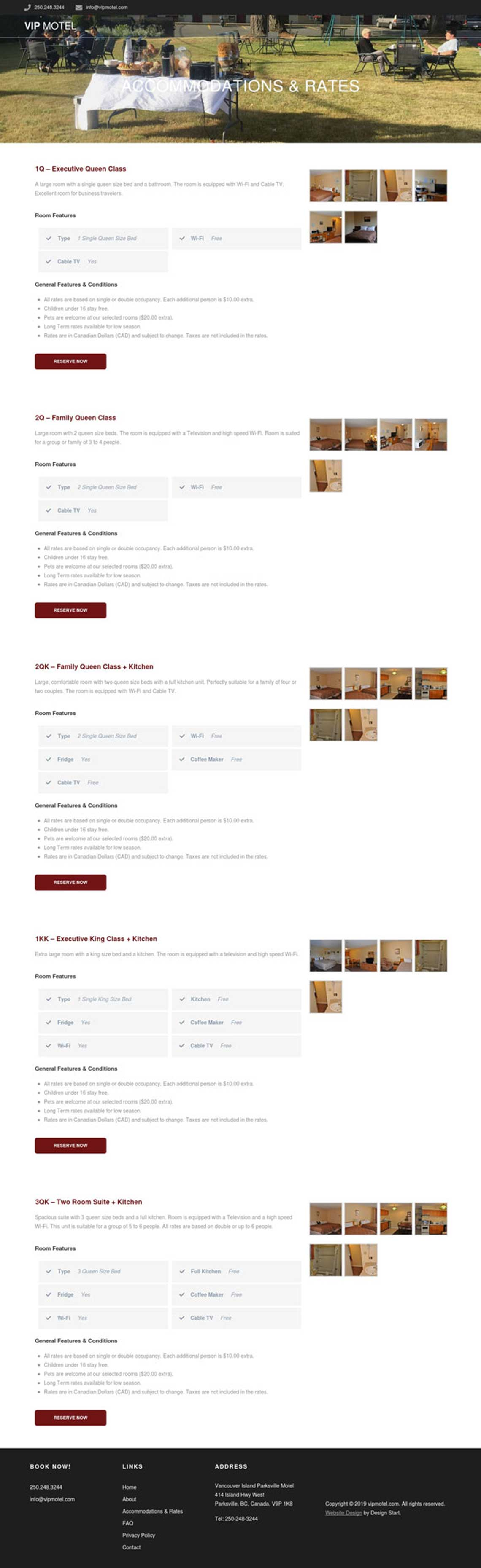 Booking Page for VIP Motel