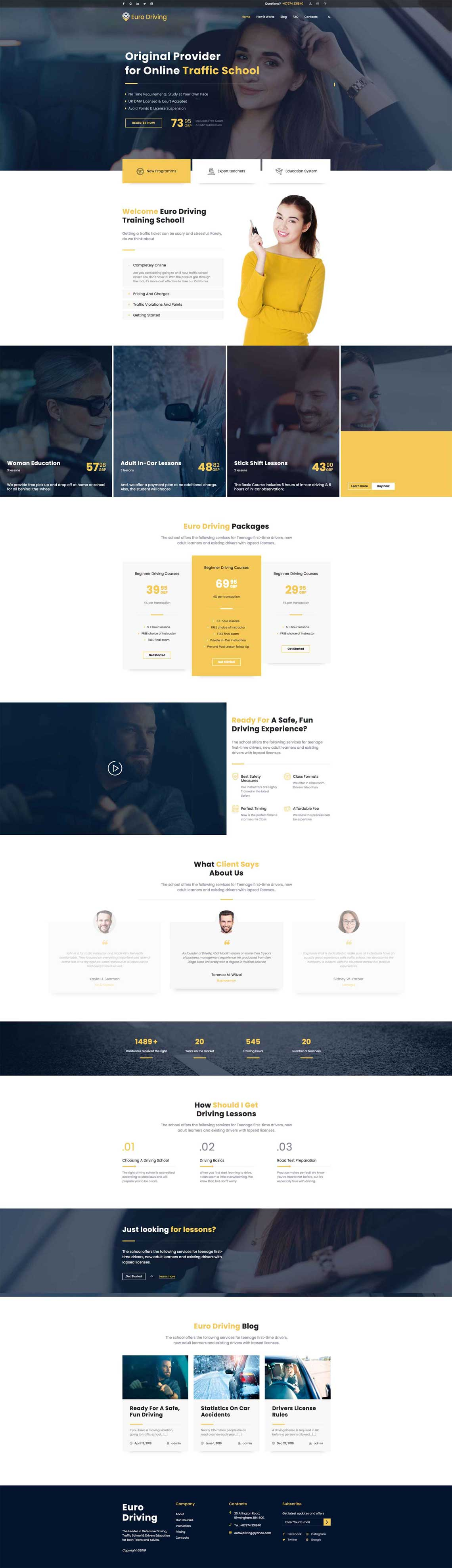 HomePage Design for Euro Driving
