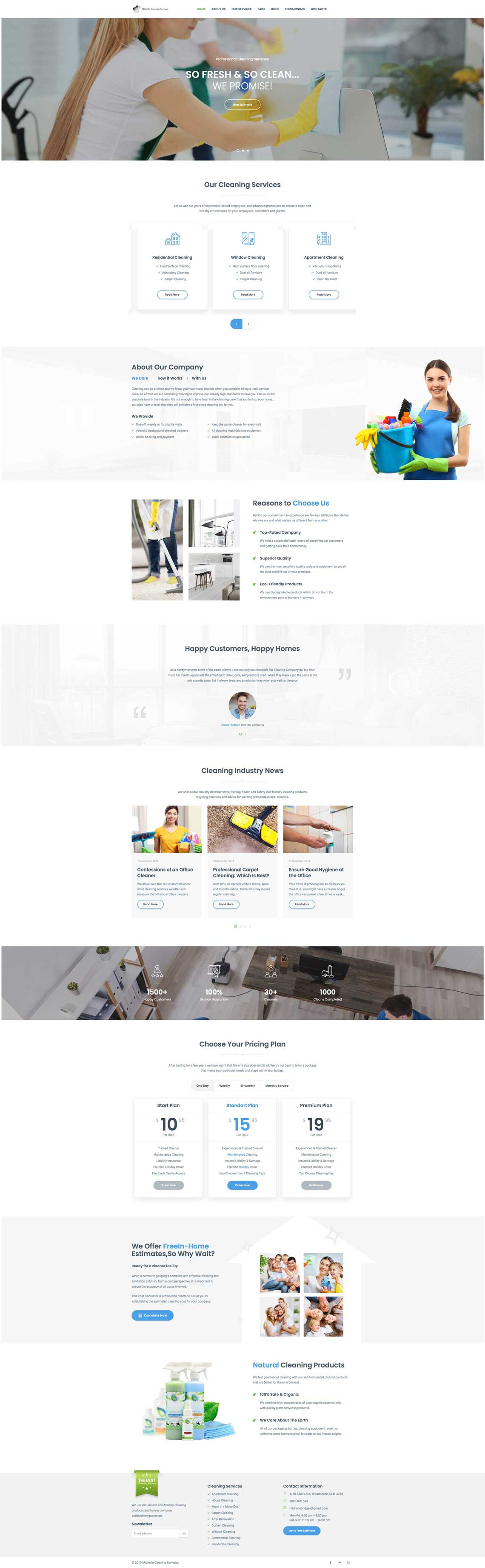 HomePage Design for Michelle Cleaning