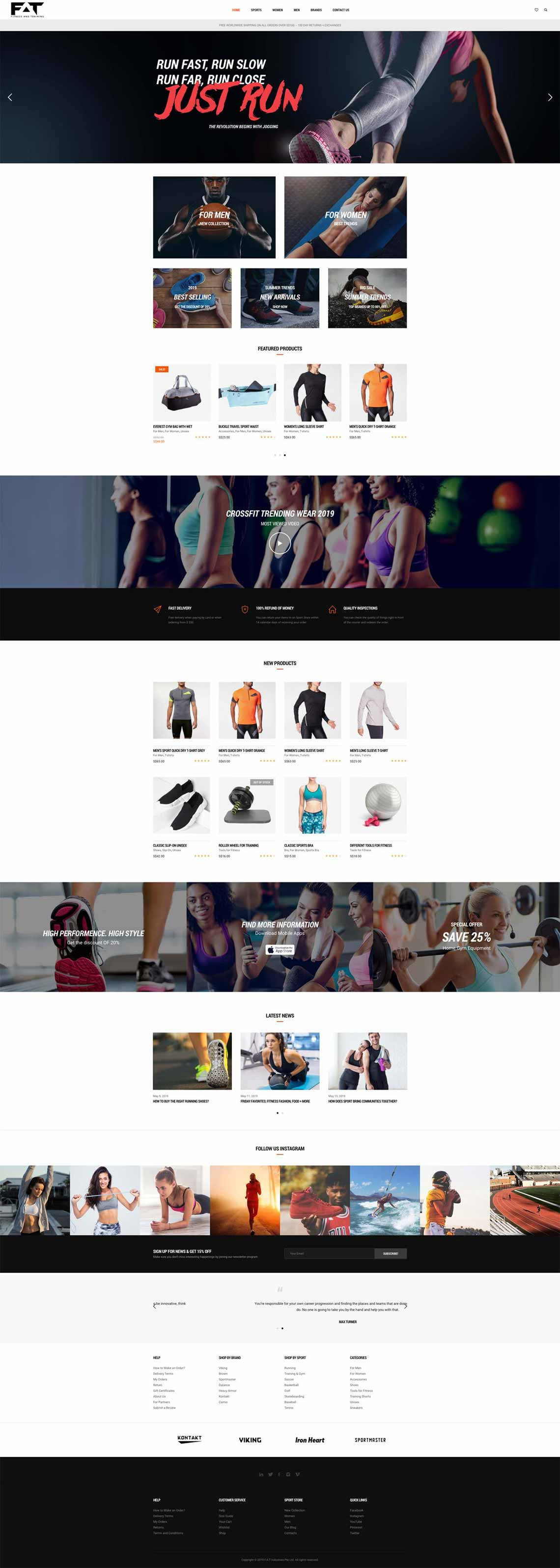 Home Page for Fitness and Training