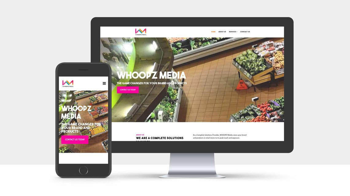 HomePage Website Design for Whoopz Media