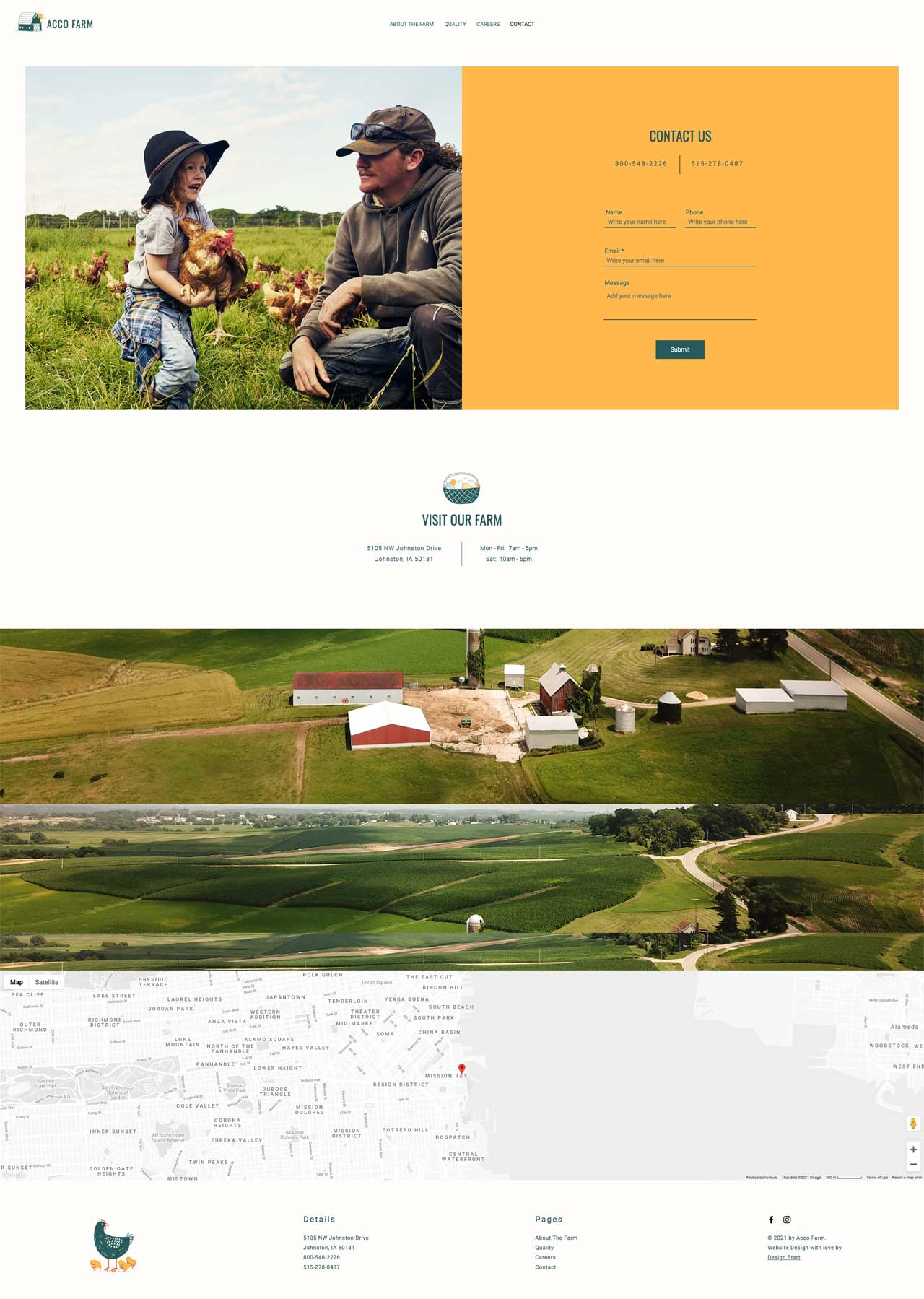 Contact Us Page Design for Acco Farm